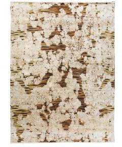 Contemporary Tiger Wool and Silk Hand Knotted Rug in Brown and Cream - 1406809