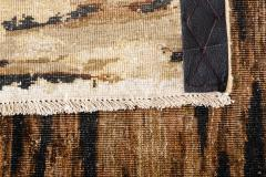 Contemporary Tiger Wool and Silk Hand Knotted Rug in Brown and Cream - 1406810