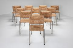 Contemporary rustic modern chairs in seagrass and aluminum 1980s - 1480925