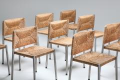 Contemporary rustic modern chairs in seagrass and aluminum 1980s - 1480927