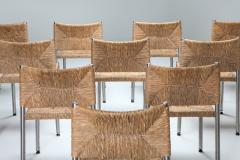 Contemporary rustic modern chairs in seagrass and aluminum 1980s - 1480929