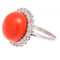Coral Diamond Gold Ring - 285029