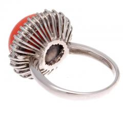 Coral Diamond Gold Ring - 285031