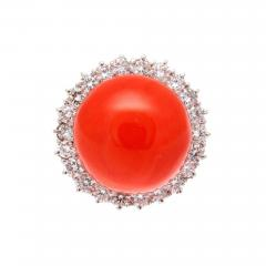 Coral Diamond Gold Ring - 285049