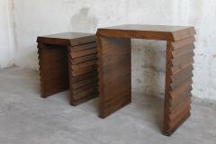 Costantini Design Dorena Modern Nesting Tables in Argentine Rosewood with Gold Painted Interior - 406070