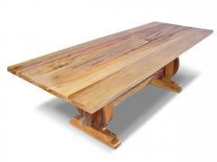 Costantini Design Manolo Basque Inspired Trestle Dining Table in Cerused Oak Customizable - 406222