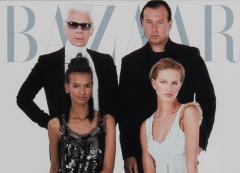 Cover photo of Karl Lagerfeld with models for Bazaar magazine - 1761062