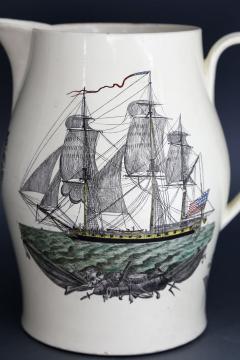 Creamware Large Ship Jug for American Market American Ship Liverpool - 1635695