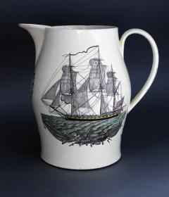 Creamware Large Ship Jug for American Market American Ship Liverpool - 1635696