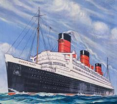Cunard White Star Line R M S QUEEN MARY Moet Chandon Original Advertising Art - 617070