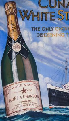 Cunard White Star Line R M S QUEEN MARY Moet Chandon Original Advertising Art - 617071
