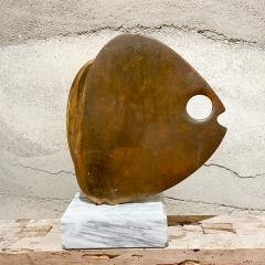 Curtis Jer 1970s C Jere Modernist Abstract Sculpture Two Bronze Fish Marble Base Mount - 2038341