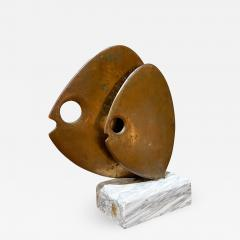 Curtis Jer 1970s C Jere Modernist Abstract Sculpture Two Bronze Fish Marble Base Mount - 2038738