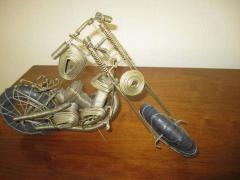 Curtis Jer Awesome C Jere Mid Century Modern Style Wire Mototcycle Metal Sculpture - 1843552