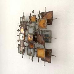 Curtis Jer Brutalist Bronze Copper Brass and Steel Wall Sculpture 1970 Signed MONK - 1623964