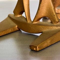 Curtis Jer Japanese Art Organic Modern Bookends Gold Gilt on Cast Iron 1960s JAPAN - 1983608