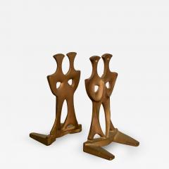 Curtis Jer Japanese Art Organic Modern Bookends Gold Gilt on Cast Iron 1960s JAPAN - 1985726