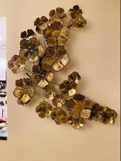 Curtis Jer LARGE BRUTALIST FLOWERS WALL SCULPTURE - 1845436