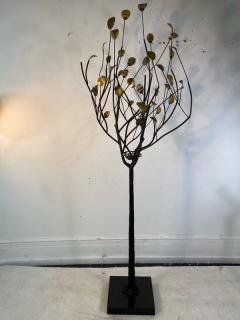 Curtis Jer MODERN BRASS LEAF AND METAL TREE WITH BIRDS NEST ON MARBLE BASE - 1951580
