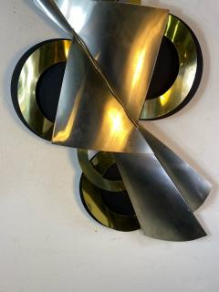 Curtis Jer MODERNIST BLACK BRASS AND CHROME WALL SCULPTURE BY CURTIS JERE - 1619104