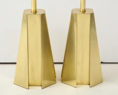 Curtis Jer Mid Century Modern Faceted Brass Table Lamps - 1267103