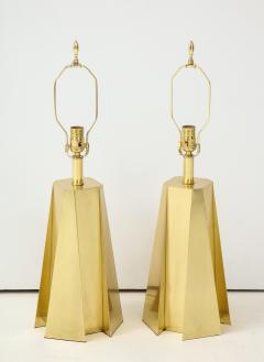 Curtis Jer Mid Century Modern Faceted Brass Table Lamps - 1267105