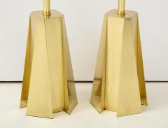 Curtis Jer Mid Century Modern Faceted Brass Table Lamps - 1267106