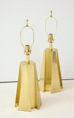Curtis Jer Mid Century Modern Faceted Brass Table Lamps - 1267107