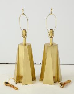 Curtis Jer Mid Century Modern Faceted Brass Table Lamps - 1267110