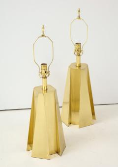 Curtis Jer Mid Century Modern Faceted Brass Table Lamps - 1267114