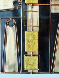Curtis Jer Rare Curtis Jere Wall Art Sculpture Bronze Brass Enamel and Steel - 687796