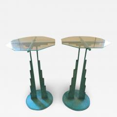 Curtis Jer Rare Pair of Curtis Jere Memphis Style Side Tables Pedestals Mid Century Modern - 1263382