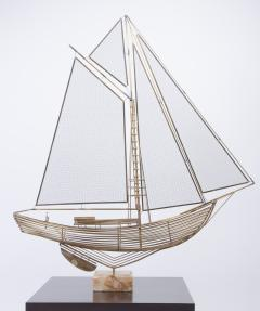 Curtis Jere C Jere Brass Sailboat Model with Onyx Base - 250963