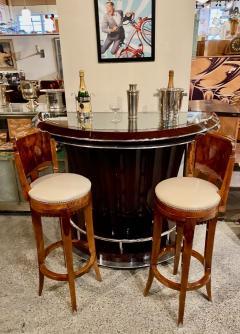 Custom Art Deco Swivel Wood Bar Stool Exotic Woods - 1334172