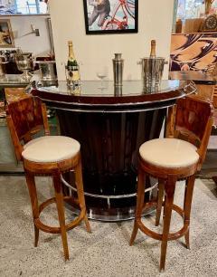 Custom Art Deco Swivel Wood Bar Stool Exotic Woods - 1334177