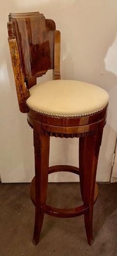 Custom Art Deco Swivel Wood Bar Stool Exotic Woods - 1334178