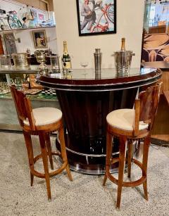 Custom Art Deco Swivel Wood Bar Stool Exotic Woods - 1334179