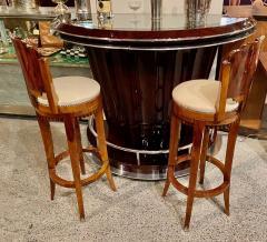 Custom Art Deco Swivel Wood Bar Stool Exotic Woods - 1334180