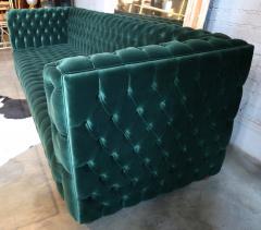 Custom Capitone Carmen Tufted Green Velvet Sofa - 383647