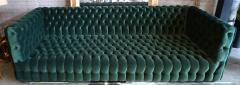 Custom Capitone Carmen Tufted Green Velvet Sofa - 383648