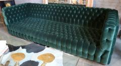 Custom Capitone Carmen Tufted Green Velvet Sofa - 383649
