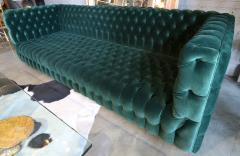 Custom Capitone Carmen Tufted Green Velvet Sofa - 383652