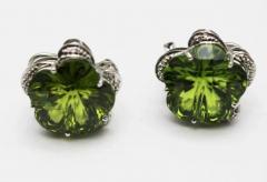 Custom Cut Flower Green Quartz Diamond Ring Pendant Earrings Set 14KT - 1674660