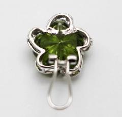 Custom Cut Flower Green Quartz Diamond Ring Pendant Earrings Set 14KT - 1674661