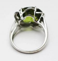 Custom Cut Flower Green Quartz Diamond Ring Pendant Earrings Set 14KT - 1674662
