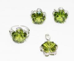 Custom Cut Flower Green Quartz Diamond Ring Pendant Earrings Set 14KT - 1674663