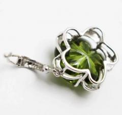 Custom Cut Flower Green Quartz Diamond Ring Pendant Earrings Set 14KT - 1674666
