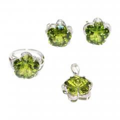 Custom Cut Flower Green Quartz Diamond Ring Pendant Earrings Set 14KT - 1676529