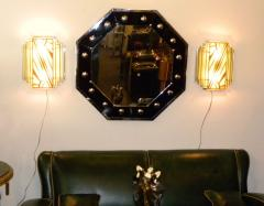 Custom Etched Glass Gold Stepped Modernist Art Deco Light - 1352401