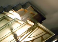 Custom Etched Glass Gold Stepped Modernist Art Deco Light - 1352402
